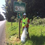 Ray and our Club's Adopt-a-Highway sign, located on Highway 1 between Jack Peters Creek and Little Lake Road.